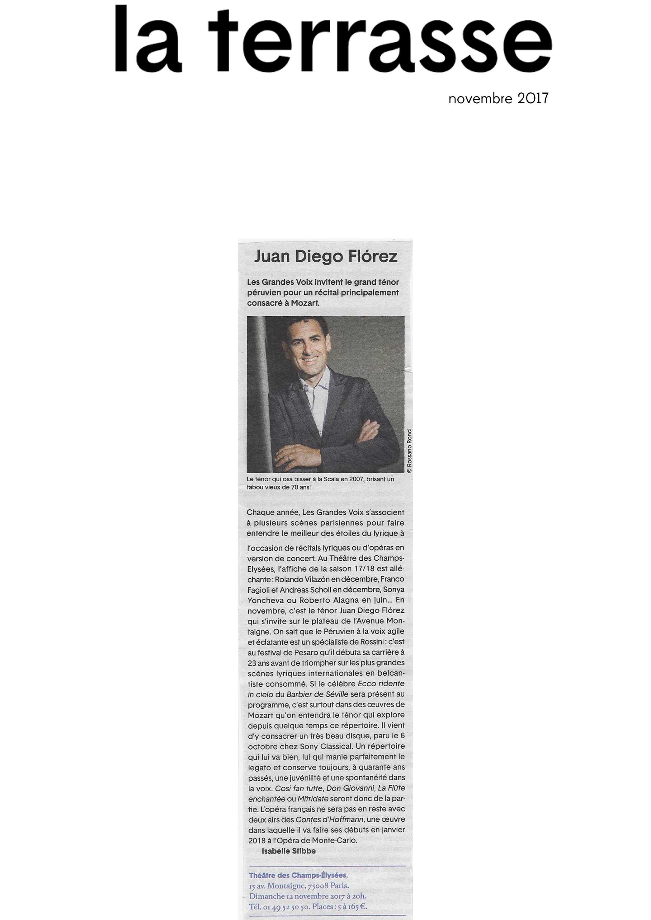Annonce du récital de Juan Diego Flórez au Théâtre des Champs-Elysées le 12 novembre 2017 dans le numéro de La Terrasse de novembre 2017.